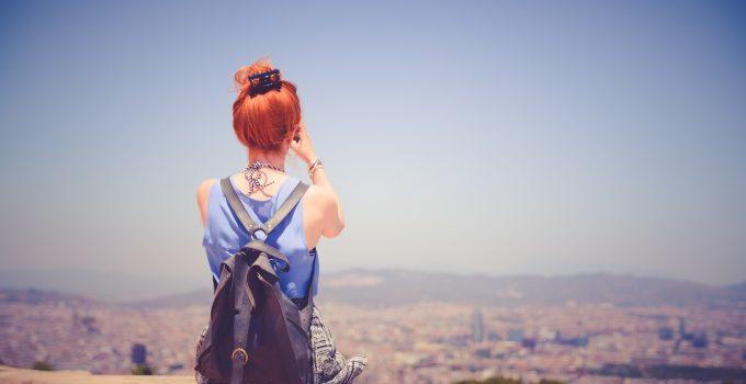 city woman view blue sky