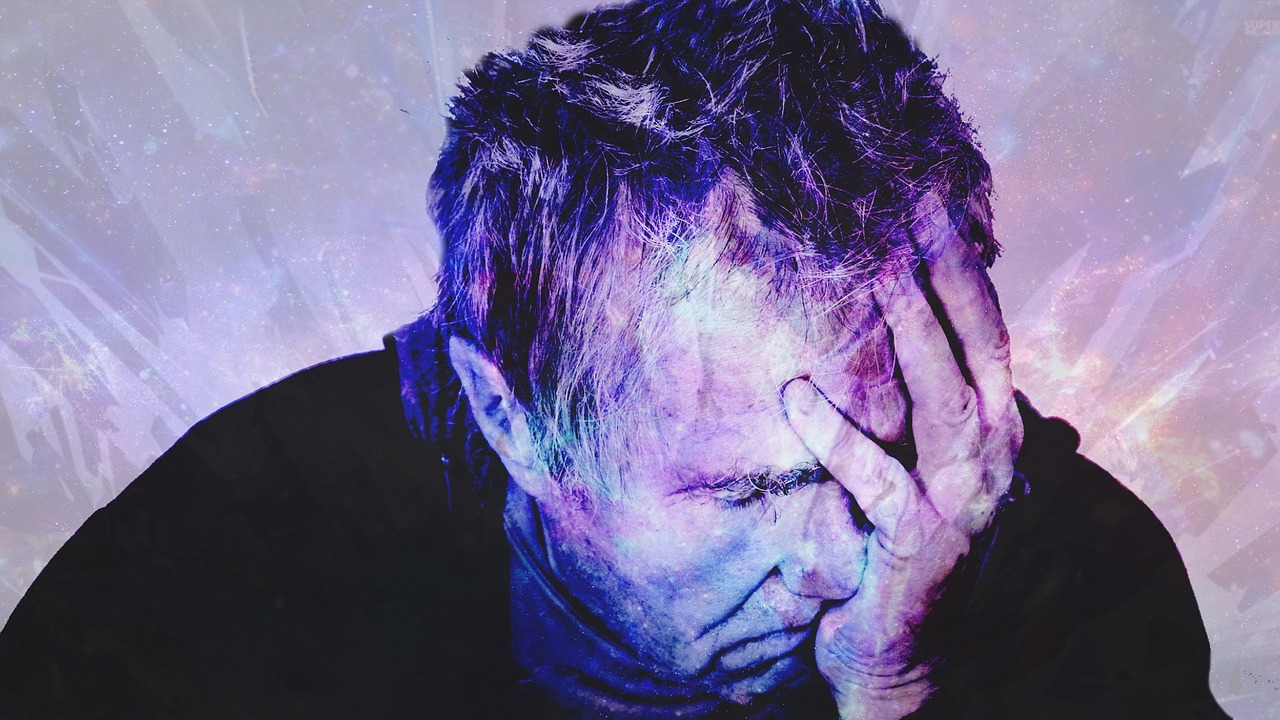 man with symptoms of depression