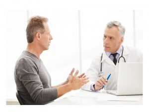 man talking to doctor about low testosterone