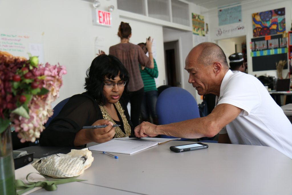 student working with a mentor