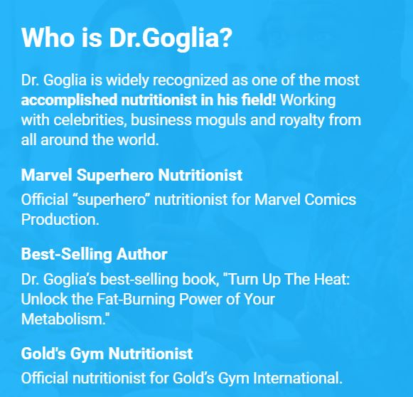 Who is Dr. Goglia developer of Goglia Nutrition
