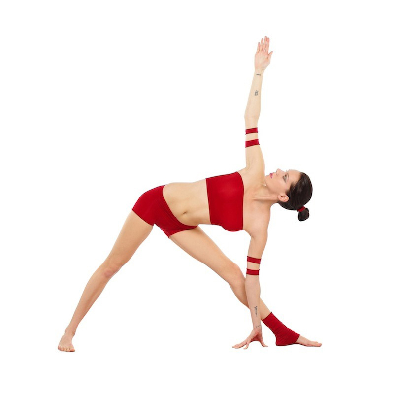 woman in the triangle pose