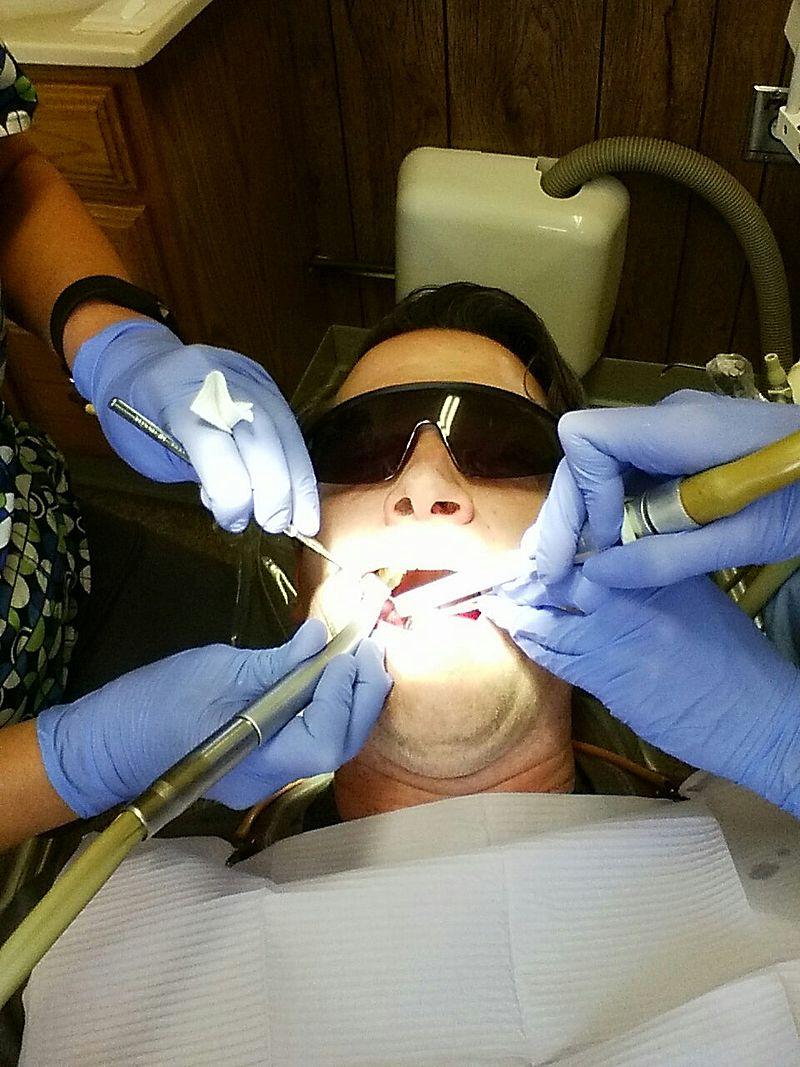 man at dentist office