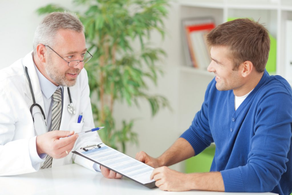 Doctor meeting with man to discuss ED and diabetes