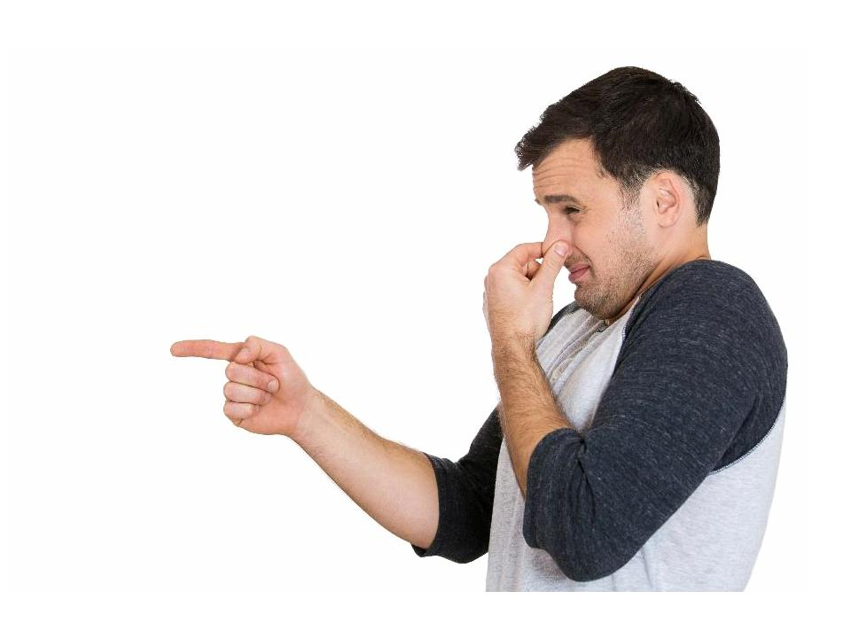 man holding nose