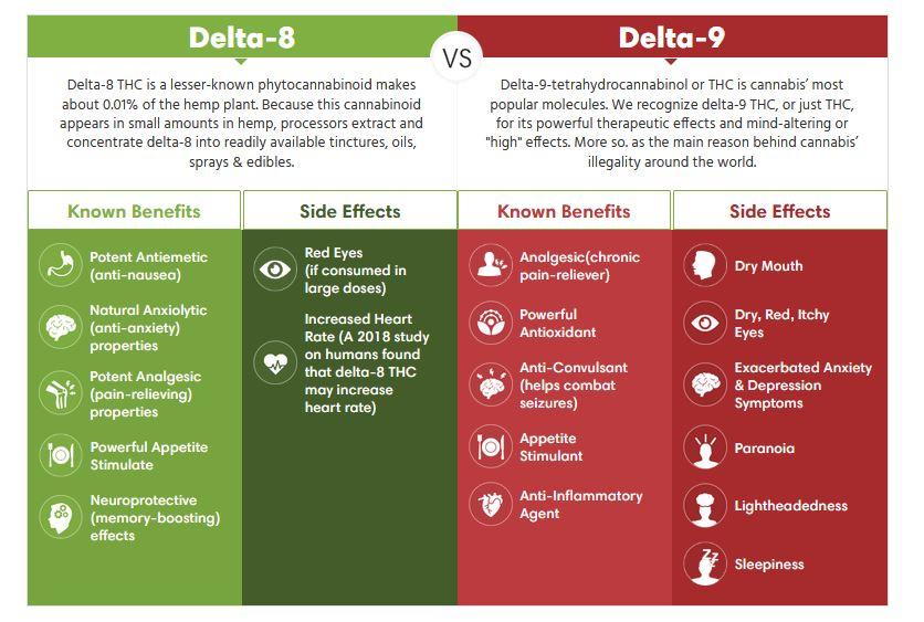 Delta 8 THC vs Delta 9 THC
